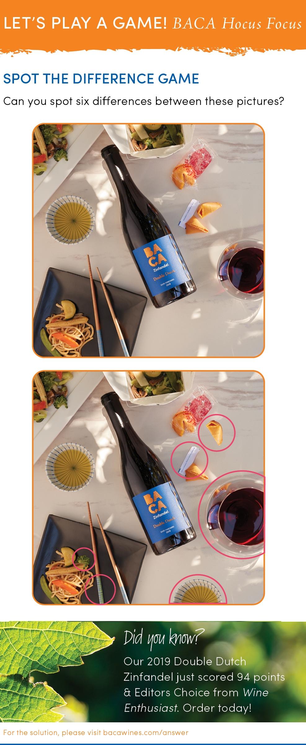 Harvest Hocus Pocus Solution image with BACA Bottle of Zinfandel, glass, Chinese food image