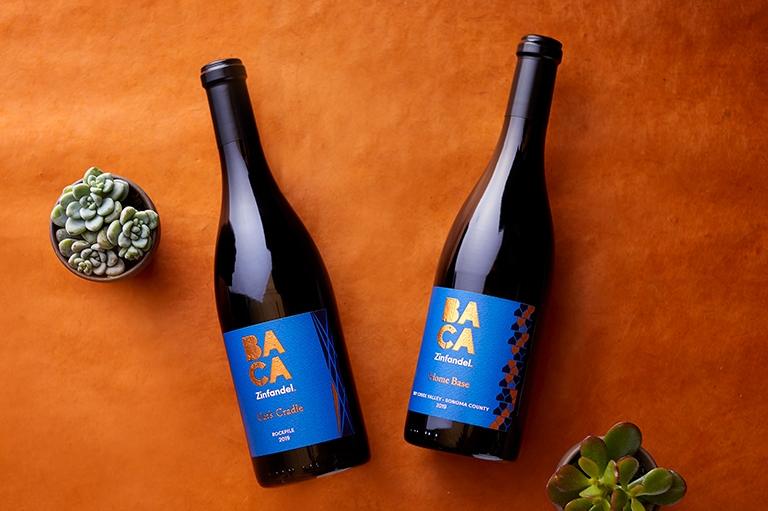 BACA Members 4th Quarter 2021 Club wines: 2019 Cat's Cradle Zinfandel & 2019 Home Base Zinfandel wine bottles