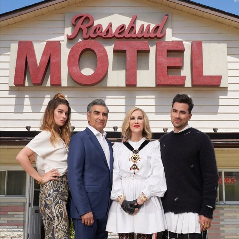 The cast of Schitts Creek, from left to right, Annie Murphy, Eugene Levy, Catherine O'Hara, Daniel Levy photo image