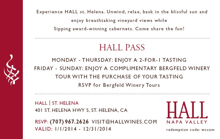 HALL Wines Wine Tasting Pass